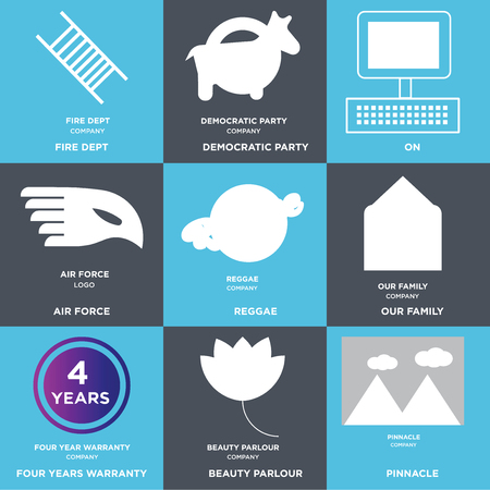 Set Of 9 simple editable icons such as pinnacle, beauty parlor, four years warranty, our family, reggae, air force, On, democratic party, fire dept. Can be used for mobile, web. Illustration