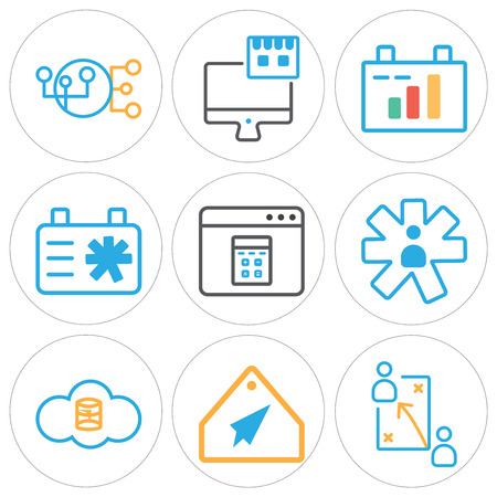Set Of 9 simple editable icons such as Strategy, Tag, Server, User, Browser, Clipboard, On, Hierarchical structure. Can be used for mobile, web.