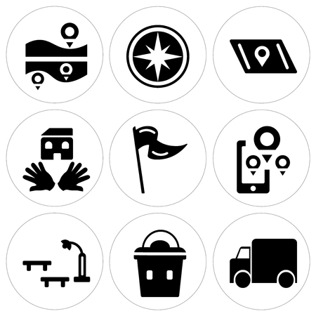 Set Of 9 simple editable icons such as Garbage truck, Lunchbox, Bus stop, Map, Flag, House, Compass. Can be used for mobile, web.