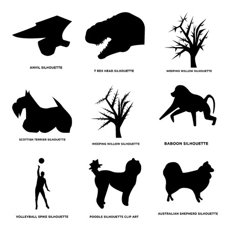 Set Of 9 simple editable icons such as Australian shepherd, poodle, volleyball spike, baboon, weeping willow, Scottish terrier, t-rex head, anvil. Can be used for mobile, web.