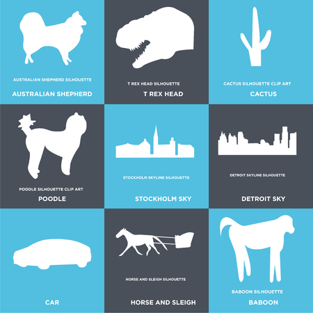 Set Of 9 simple editable icons such as baboon, horse and sleigh, car, detroit sky, stockholm poodle, cactus, t rex head, australian shepherd, can be used for mobile, web