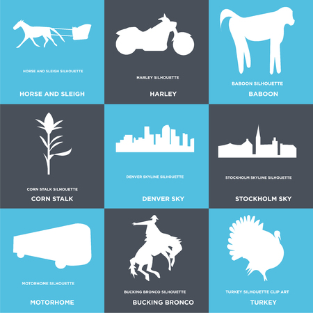 Set Of 9 simple editable icons such as turkey, bucking bronco, motorhome, stockholm sky, denver corn stalk, baboon, harley, horse and sleigh, can be used for mobile, web
