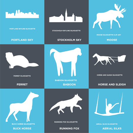 Set Of 9 simple editable icons such as aerial silks, running fox, buck horse, horse and sleigh, baboon, ferret, moose, stockholm sky, portland can be used for mobile, web