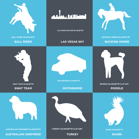 Set Of 9 simple editable icons such as skunk, turkey, australian shepherd, poodle, motorhome, swat team, bucking horse, las vegas sky, bull rider, can be used for mobile, web Vettoriali