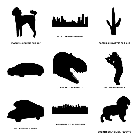 Set Of 9 simple editable icons such as cocker spaniel, kansas city sky, motorhome, swat team, t rex head, car, cactus, detroit poodle, can be used for mobile, web