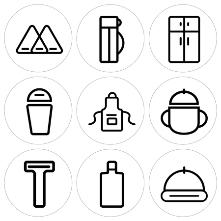 Set Of 9 simple editable icons in linear illustration.