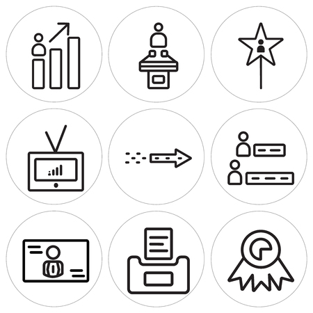 Set Of 9 simple editable icons such as Medal, Ballot, Candidate, Results, Fireworks, Television, Vote, Conference, can be used for mobile, web