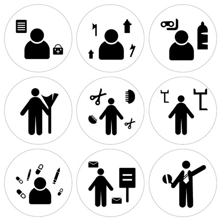 Set Of 9 simple editable icons in silhouette illustration.
