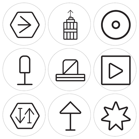 Set Of 9 simple editable icons in outline illustration.