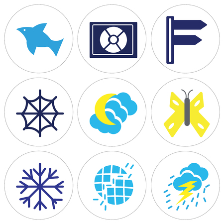 Set Of 9 simple editable icons in colored illustration. Illustration