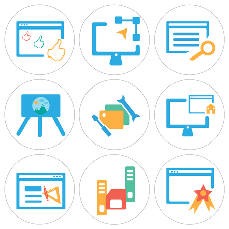 Set Of 9 simple editable icons such as Browser, Diskette, Home, Folder, Presentation, Graphic de, can be used for mobile, web