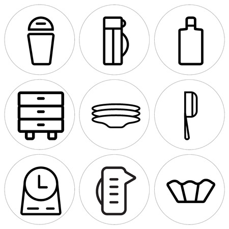 Set Of 9 simple editable icons such as Cupcake, Measuring cup, Clock, Cleaver, Dishes, Cabinet, Wine bottle, Thermo, Trash, can be used for mobile, web 矢量图像