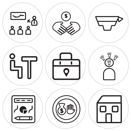 Set Of 9 simple editable icons such as House, Money bag, Planning, Speech, Placeholder, Meeting, Graduation, Deal, Presentation, can be used for mobile, web