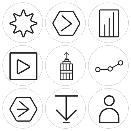 Set Of 9 simple editable icons such as User, Down arrow, Youtube, Connection, Garbage, Play, Bar chart, Next, Favourite, can be used for mobile, web