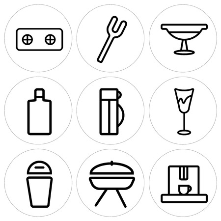 Set Of 9 simple editable icons such as Coffee maker, Barbecue, Trash, Glass, Thermo, Wine bottle, Platter, Fork, Stove, can be used for mobile, web