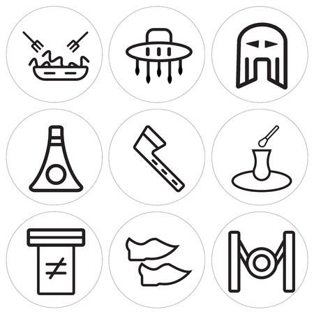 Set Of 9 simple editable icons such as Gong, Shoes, Holy scriptures, Tea, Tomahawk, Balalaika, Helmet, Australian, Pasta, can be used for mobile, web Stock Vector - 100999492