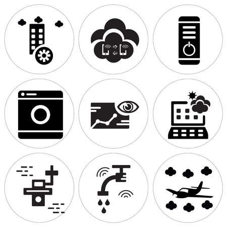 Set Of 9 simple editable icons such as Airplane, Water, Drone, Weather forecast, Piction, Washing machine, Power button, Connection, Disaster, can be used for mobile, web