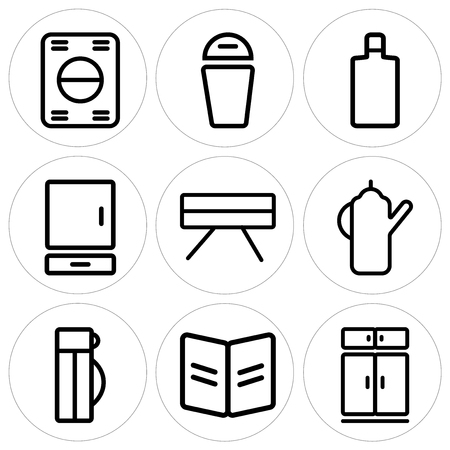 Set Of 9 simple editable icons such as Fridge, Recipe, Thermo, Kettle, Table, Cabinet, Wine bottle, Trash, Washing machine, can be used for mobile, web