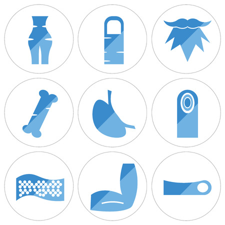 Set Of 9 simple editable icons such as Human Toe, Men Elbow, Cellulite, Fingerprint, Stomach with Liquids, Bone, Beard, Finger, Abdomen, can be used for mobile, web Vectores