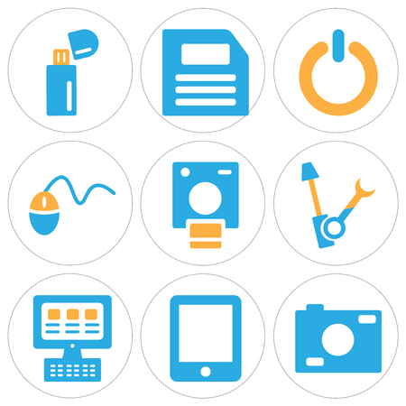 Set Of 9 simple editable icons such as Photo camera, Tablet, Laptop, Settings, Polaroid, Mouse, Power button, Diskette, Pendrive, can be used for mobile, web Illustration