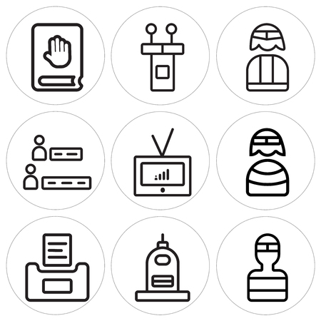 Set Of 9 simple editable icons such as Welder, Capitol, Ballot, Priest, Television, Results, Candidate, Conference, Oath, can be used for mobile, web Illustration