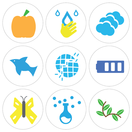 Set Of 9 simple editable icons such as Plant with Two Leaves, Chemistry Equipment, Big Butterfly, Bars Battery, Broken Earth, Dolphin Jumping, Three Clouds, Drop Hand, Giant Pumpkin, can be used for