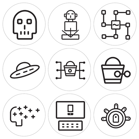 Set Of 9 simple editable icons such as Teleportation, Responsive, Artificial intelligence, Steampunk, Marketing, Ufo, Voice recognition, Hologram, Skull, can be used for mobile, web Vettoriali
