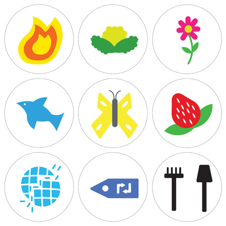 Set Of 9 simple editable icons such as Garden Tools, Recycling Label, Broken Earth, Strawberry, Big Butterfly, Dolphin Jumping, Two Flowers In a Pot, Cabbage, Fire Flame, can be used for mobile, web