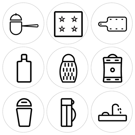 Set Of 9 simple editable icons such as Tap, Thermo, Trash, Coffee pot, Grater, Wine bottle, Kitchen board, Ice cube tray, Pot, can be used for mobile, web