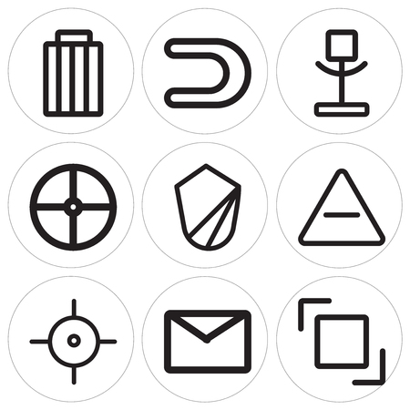 Set Of 9 simple editable icons such as Layer, Envelope, Target, Remove, Shield, Help, Voice recorder, Magnet, Garbage, can be used for mobile, web Vettoriali
