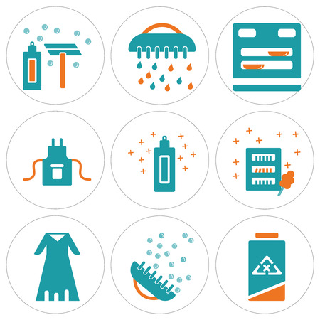 Set Of 9 simple editable icons such as Clean, Brush, Bathrobe, Wardrobe, Cream, Uniform, Dishwasher, Shave, can be used for mobile, web