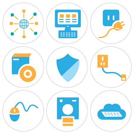 Set Of 9 simple editable icons such as Cloud computing, Polaroid, Mouse, Hard drive, Shield, Compact disc, Plug, Laptop, Networking, can be used for mobile, web
