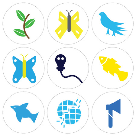Set of 9 simple editable icons such as big ax, broken earth, dolphin jumping, silver angelfish, gas mask, butterfly with wings, bird looking right, butterfly, two plants, can be used for mobile, web. 矢量图像