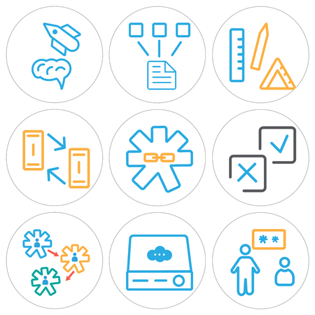 Set of 9 simple editable icons such as presentation, server, settings, accept, link, office material, network, startup, can be used for mobile, web.