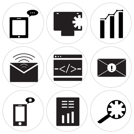 Set of 9 simple editable icons such as search setting, report, setting on phone, programming code, mail, analytic, safe, message can be used for mobile, web.