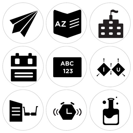 Set of 9 simple editable icons such as flask, alarm clock, reading, cube, abc, backpack, school, dictionary, paper plane, can be used for mobile, web.
