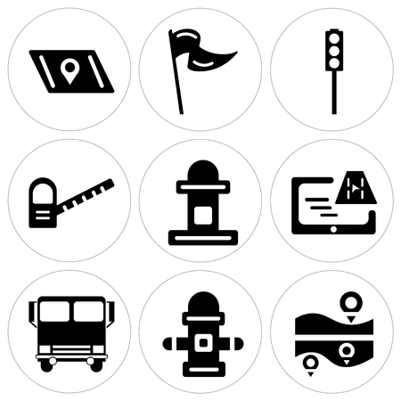 Set Of 9 simple editable icons such as Map, Hydrant, Bus, Gps, Mailbox, Toll road, Traffic light, Flag, can be used for mobile, web