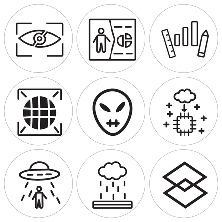Set Of 9 simple editable Set Of 9 simple editable icons in monochrome illustration.