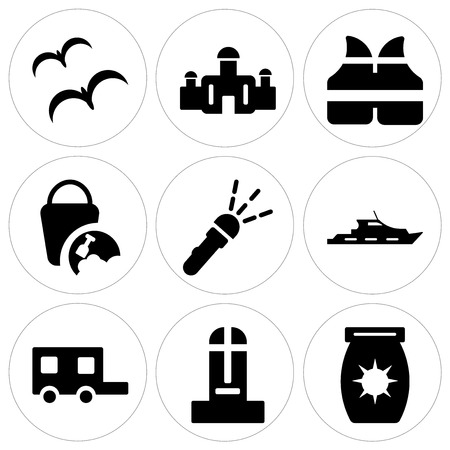 Set Of 9 simple editable icons in monochrome illustration.