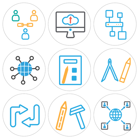 Set of 9 simple editable icons in colored illustration.