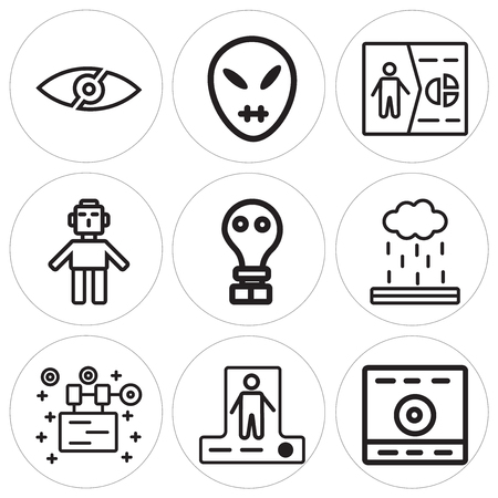 Set of 9 simple editable icons in monochrome illustration. Vettoriali