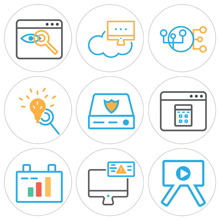 Set of 9 simple editable icons such as presentation, monitor, clipboard, browser, server, loupe, hierarchical structure, network, can be used for mobile, web. Illustration