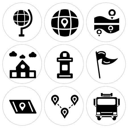 Set of 9 simple editable icons such as fire truck, destination, map, flag, mailbox, school, globe, can be used for mobile, web.