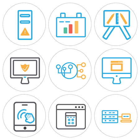 Set of 9 simple editable icons such as networking, browser, smartphone, laptop, hierarchical structure, presentation, clipboard, tower, can be used for mobile, web. Illustration