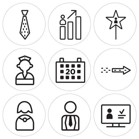 Set of 9 simple editable icons in monochrome illustration. Illustration