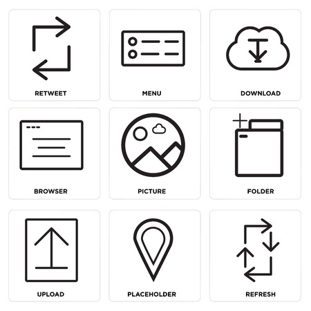 Set of 9 simple editable icons in monochrome illustration. Vectores