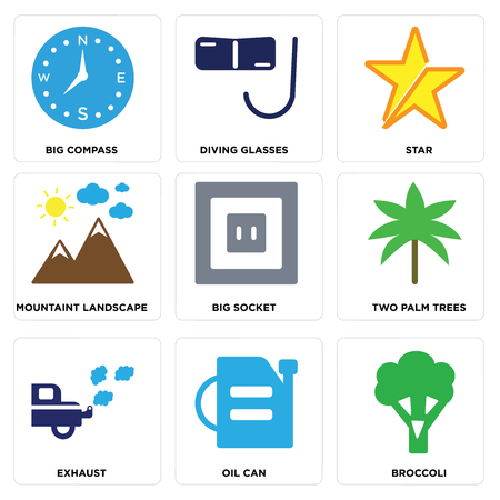 Set of 9 simple editable icons such as broccoli, oil can, exhaust, two palm trees, big socket, mountain landscape, star, diving glasses, compass, can be used for mobile, web.