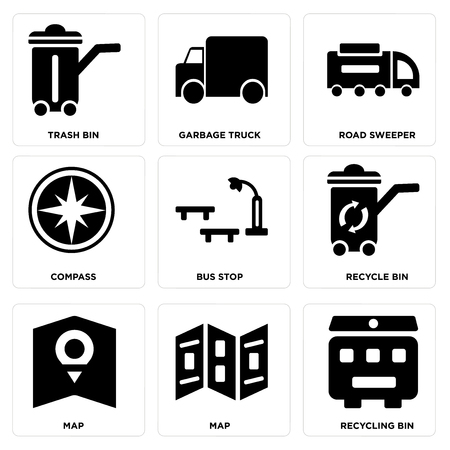 Set of 9 simple editable icons such as recycling bin, map, recycle bus stop, compass, road sweeper, garbage truck, trash can be used for mobile, web.
