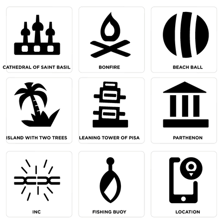 Set of 9 simple editable icons such as location, fishing buoy, Parthenon, leaning tower of Pisa, island with two trees, beach ball, bonfire, cathedral saint basil, can be used for mobile, web.