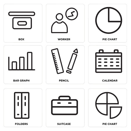 Set of 9 simple editable icons such as pie chart, suitcase, folders, calendar, pencil, bar graph, worker, box, can be used for mobile, web.